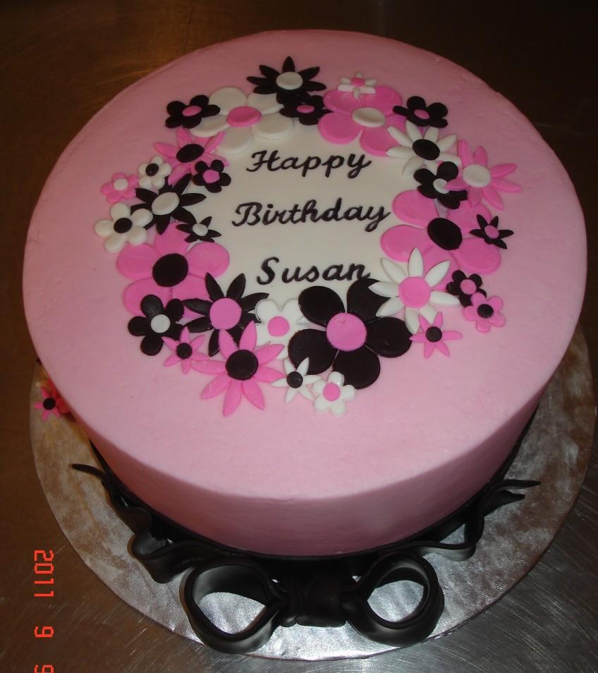 Pink Fondant Flowers St Louis Custom Cakes